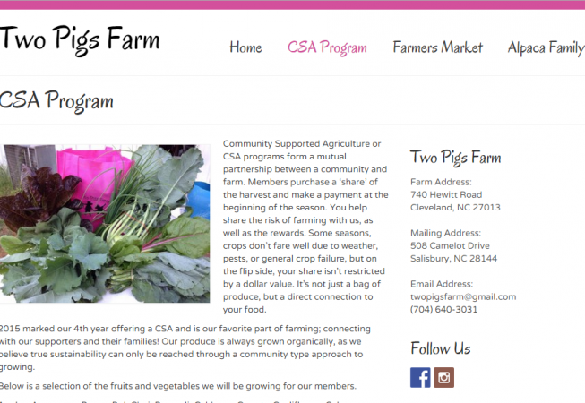 Page layout with CSA details